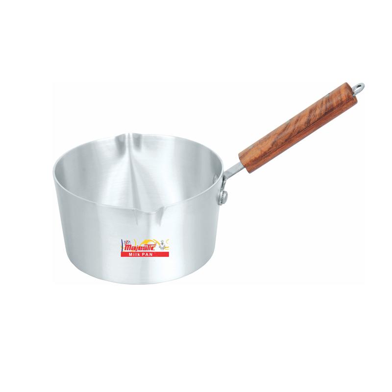 Majestic | Metal Finish Milk Pan with Wooden Handle 4 Pcs Set 1×4 – MPHOM1x4